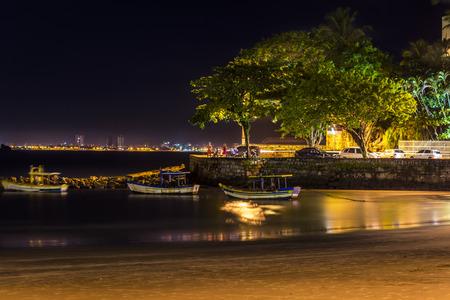 Guaruja, Asturias beach at night. Sao Paulo, Brazil. Stock Photo