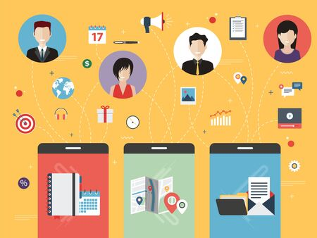 wireless icon: Smart phone with calendar, location, file and email applications. People icons in circles and other apps icons. Business concepts between people, marketing and sharing. Vector flat illustration.