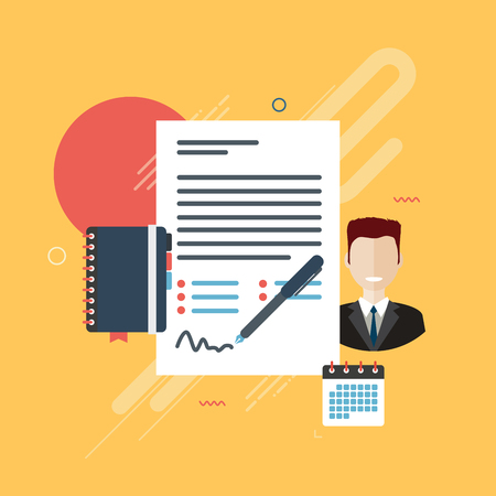 signing: Documents of agreement or reports with data for signature, businessman, appointment book and calendar in the form of icons. Graphics on yellow background. Flat design vector illustration.