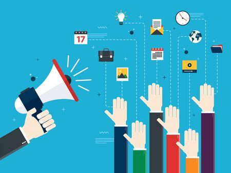 Hands holding a megaphones and hands raised. Job advertisement, volunteers, voting and opinion. Concept of opinion, collaboration and business. Design in Vector illustration. Vektoros illusztráció