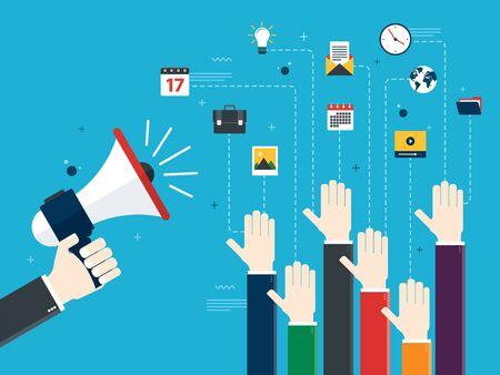 Les mains tenant un mégaphones et les mains levées. Annonce d'emploi, bénévoles, vote et opinion. Concept d'opinion, de collaboration et d'affaires. Conception en illustration vectorielle. Vecteurs