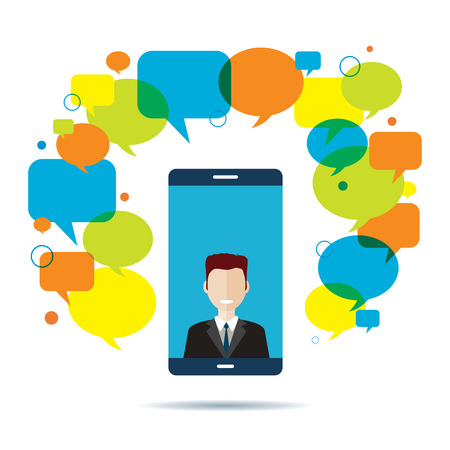 Smart phone with businessman on video conference on screen and text message speech bubble. Mobile chat concept, communication and business, wireless technology and teamwork network.