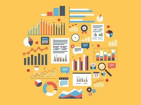 Chart with statistics and data, statistic analytics and growth report. Icons in vector illustration of calculator, chart, magnifying glass and calendar. Concepts finance, business and strategy.