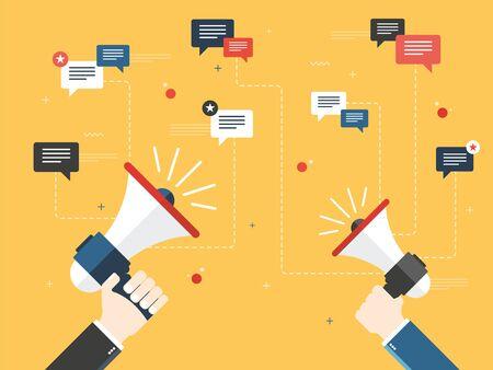 Manos sosteniendo un megaphones. Aviso o anuncio, promoción de un producto, servicio o evento y mensajes iconos y comentarios. Plano de diseño vectorial concepto de ilustración de negocios.