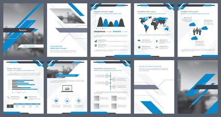 Éléments d'infographie pour le modèle de rapport et les modèles de présentations. Rapport annuel d'entreprise, prospectus, conception de couverture de livre, brochure et conception de modèle de dépliant. Illustration vectorielle.