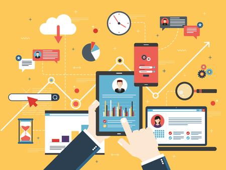 Hand mit Tablette mit Leistungsanalyse, Laptop und Internet-Bildschirm mit Daten, Suchikonen und Projektmanagement, Anwendungsentwicklungen. Konzept für erfolgreiches Geschäft im flachen Vektordesign.