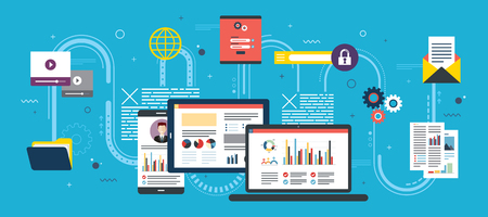 Tablet mit Leistungsanalyse, Laptop und Internet-Bildschirm mit Daten, Suchsymbolen und Projektmanagement, Anwendungsentwicklungen. Konzept für erfolgreiches Geschäft im flachen Vektordesign.