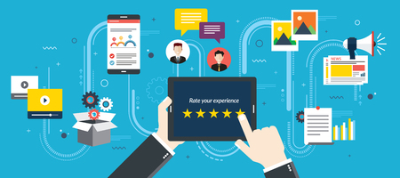 Rating system on tablet screen with stars. Feedback and qualification in chat, social media, marketing, video, market online, photos and email in flat design vector illustration. Çizim