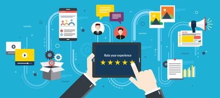 Sistema de classificação em tela de tablet com estrelas. Feedback e qualificação em bate-papo, mídias sociais, marketing, vídeo, mercado online, fotos e e-mail em ilustração vetorial de design plano.