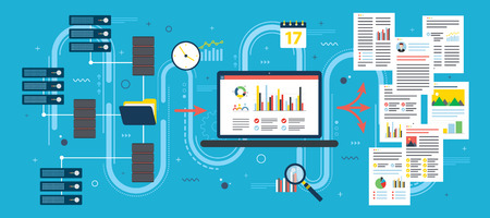 Laptop accessing server files in network and extract information. Concepts data mining or business intelligence processing for decision making. Flat vector illustration.