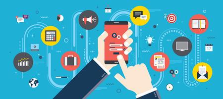 ログイン画面で携帯電話を持つ手。スマート フォン アプリケーション アイコンをつないだ。スマート コミュニケーションと技術の概念。フラット  イラスト・ベクター素材