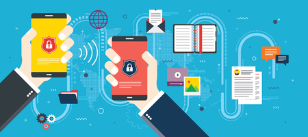 Hands holding smart phone with invasion protection and access to private data. Security and privacy of mobile phone. Secure internet access and data transfer. Flat vector illustration.