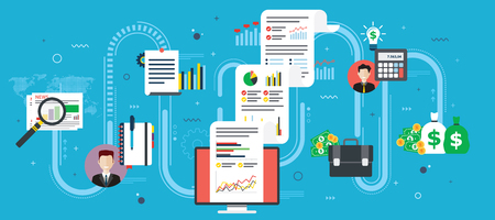 Report with investment data and graphs and growth on computer screen. Newspaper icon, calculator, money, briefcase and documents. Flat design vector illustration.