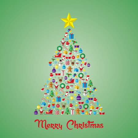 Christmas pine tree composed of new year icons and symbols. Decorated with star. Flat style art icons set isolated on green background.