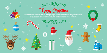 Set of Christmas icons in internet banner in vector illustration. Template for internet and business. Illustration