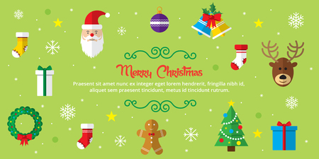 Set of christmas icons in internet banner in vector illustration. Icon of bell, stocking, christmas tree, reindeer, present, Santa Claus, snowman. Template for internet and business. Illustration