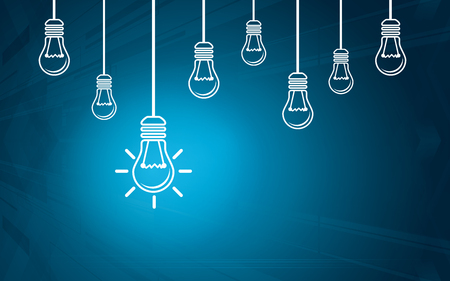 Light bulbs on a blue background. Creativity concept with innovation or inspiration in business, thinking outside the box.Strategy and leadership on teamwork. Opportunity, solution and success. Illustration