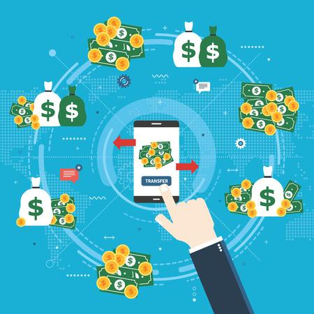 Banküberweisung, Finanztransaktion und Geld. Geschäftsmann-Hand, die auf Überweisungstaste in der Smartphone-Bank-App klickt. Geld auf verschiedene Konten übertragen. Flache Designvektorillustration.