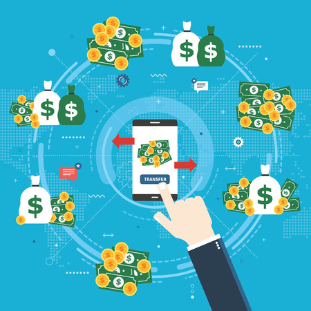 Banking transfer, transaction financial and money. Businessman hand clicking on transfer button in smartphone bank app.Transferring money to various accounts. Flat design vector illustration.