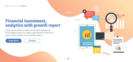 Financial investment, analysis with growth report, financial chart of growth and profits and earnings in business. Template in flat design for web banner or infographic in vector illustration.