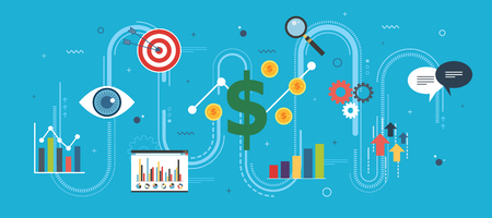 Growth chart, startup sucess and money profit. Business, growth, chart and finance icons. Startup and sucess growth internet banner concept in flat design vector illustration in blue background.
