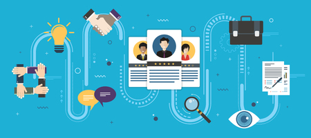 Recruitment and selection of people qualified for employment. Hiring and recruitment concept, job interview, qualified professionals. Icon set business. Flat design web banners in vector illustration. Vektoros illusztráció