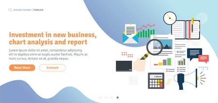 Investment in new business, chart analysis and report. Calculations of rate, investment and tax. Analysis of documents with charts. Flat design for web banner in vector illustration.