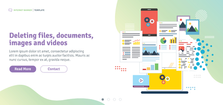 Deleting files, documents, images and videos. Laptop, computer and mobile phone deleting files and documents. Template in flat design for web banner or infographic in vector illustration. Иллюстрация