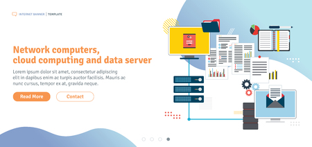Network computers, cloud computing and data server. Computers and laptop accessing server files in network. Template in flat design for web banner or infographic in vector illustration. Illusztráció