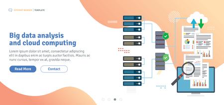 Big-Data-Analyse und Cloud-Computing. Laptop, der auf Daten von Cloud-Computern zugreift. Datennetzwerk und Business Intelligence. Flaches Design für Web-Banner in der Vektorillustration.