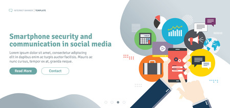 Smartphone security and communication in social media. Mobile phone on login screen. Smartphone application icons connected by lines. Flat design for web banner in vector illustration. Illustration