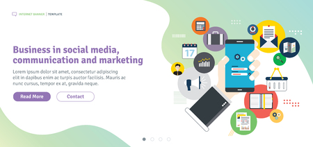 Business in social media, communication and marketing. Mobile phone on login screen. Smartphone application icons connected by lines. Flat design for web banner in vector illustration.