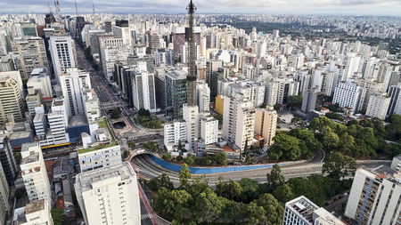 Aerial view of Paulista avenue in Sao Paulo city, Brazil