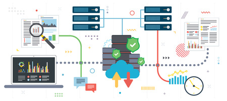 Cloud Computing, big data  analysis and data mining. Laptop accessing data from cloud computers. Data network and business intelligence. Flat design for web banner in vector illustration.