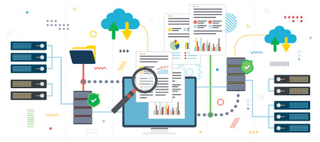 Big data analysis and cloud computing. Laptop accessing data from cloud computers. Data network and business intelligence. Flat design for web banner in vector illustration. Vectores