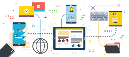 Security analysis and project management. Performance analysis, smartphone with data, application developments.Template in flat design for web banner or infographic with icons in vector illustration. Фото со стока - 124635803