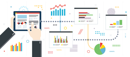 Finance investment planning with analytics chart. Chart or diagram in application for monitoring with growth report. Template in flat design for web banner or infographic in vector illustration.