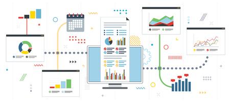 Estrategia y seguimiento de ganancias en el mercado financiero. Gráfico o diagrama en aplicación para seguimiento con informe de crecimiento. Plantilla en diseño plano para banner web o infografía en ilustración vectorial.
