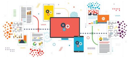 Suppression des données système et du réseau informatique. Organisez la paperasse et les fichiers, éliminez les ordures. Modèle en design plat pour bannière Web ou infographie avec des icônes en illustration vectorielle.