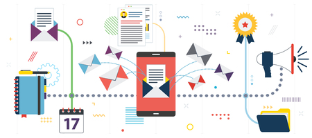Business communication and email marketing. APP inbox, send or receive email in smartphone .Template in flat design for web banner or infographic in vector illustration.