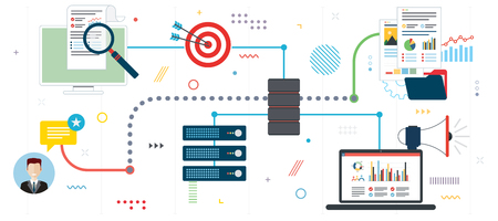 Business intelligence, network computers, cloud computing and data network. Laptop accessing server files in network. Flat design for web banner or infographic in vector illustration.