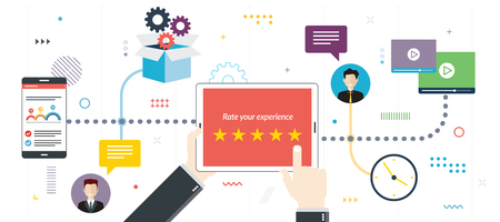 Rating system, feedback  and qualification. Rating system on tablet screen with stars. Flat design for web banner or infographic in vector illustration.