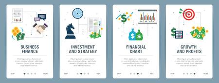 Finanzas comerciales, inversión y estrategia, cuadro financiero, crecimiento y ganancias. Concepto de banner de sitio web de Internet con conjunto de iconos. Ilustración de vector de diseño plano.