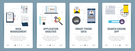 Web banners concept in vector with data management, application analysis, smartphone data and search engine app. Internet website banner concept with icon set. Flat design vector illustration.