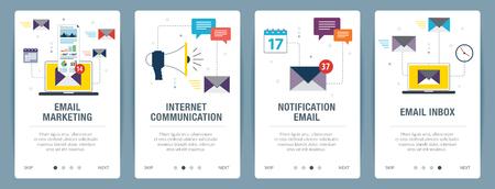 Ensemble d'images vectorielles de bannières Web verticales avec marketing par e-mail, communication Internet, e-mail de notification et boîte de réception par e-mail. Modèle de bannière vectorielle pour le développement de sites Web et d'applications mobiles avec jeu d'icônes.