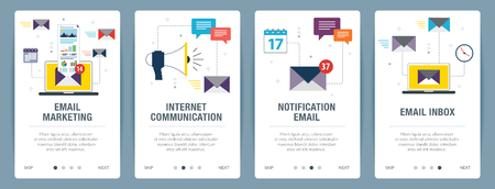 Vector set of vertical web banners with email marketing, internet communication, notification email and email inbox. Vector banner template for website and mobile app development with icon set. Illustration