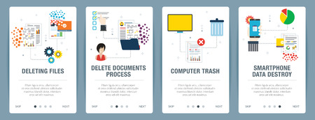 Vector set of vertical web banners with deleting files, delete documents, computer trash and smartphone data destroy. Vector banner template for website and mobile app development with icon set.