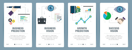 Vector set of vertical web banners with business prediction, business vision, growth prediction and success vision. Vector banner template for website and mobile app development with icon set. Banque d'images - 121890376