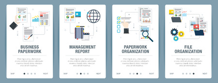Vector set of vertical web banners with business paperwork, management report, paperwork organization, file organization. Vector banner template for website and mobile app development with icon set. Ilustração