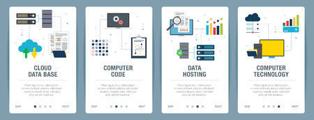 Vector set of vertical web banners with cloud data base, computer code, data hosting and computer technology. Vector banner template for website and mobile app development with icon set. Ilustração